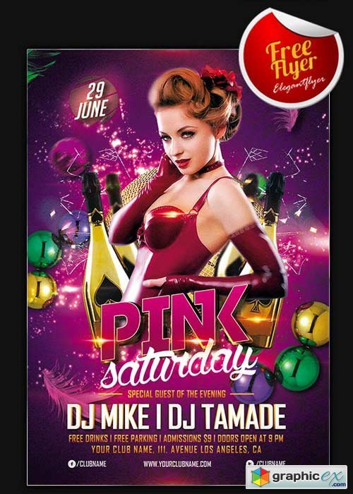 Pink Saturday Flyer Template + Facebook Cover