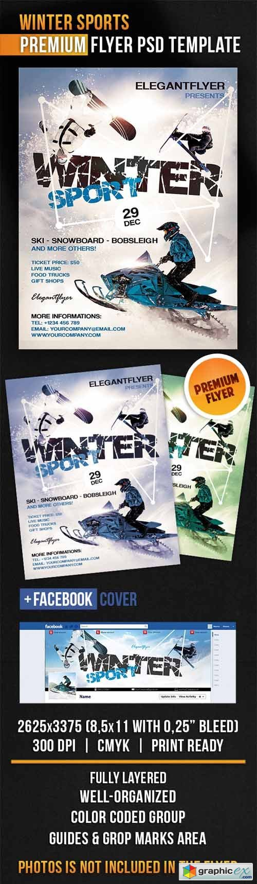 Winter Sports � Flyer PSD Template + Facebook Cover