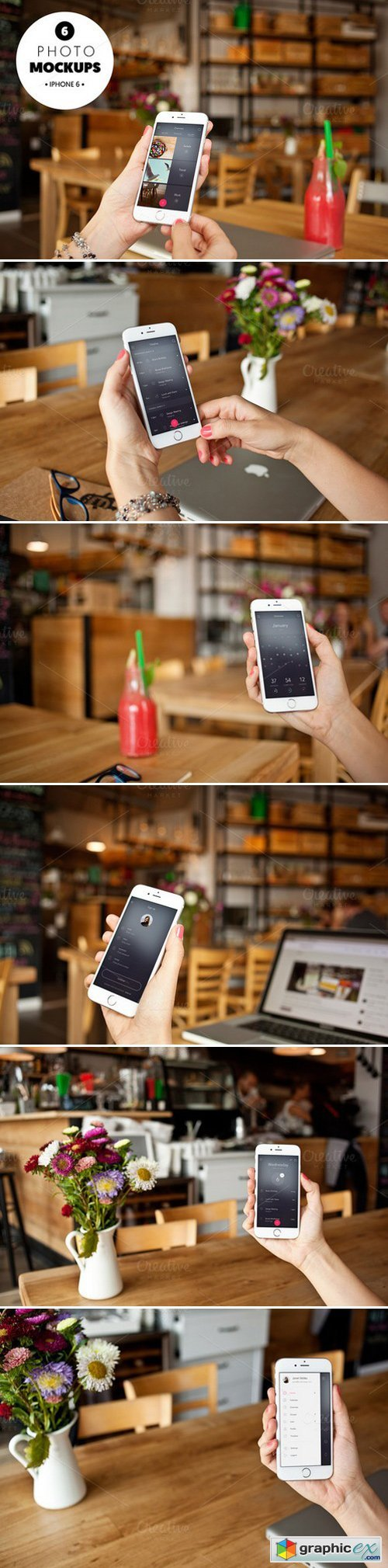 Iphone 6 in the cafe-6 photo mockups