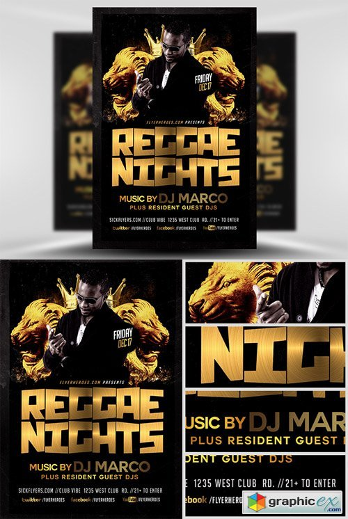 Black and Gold Reggae Flyer Template