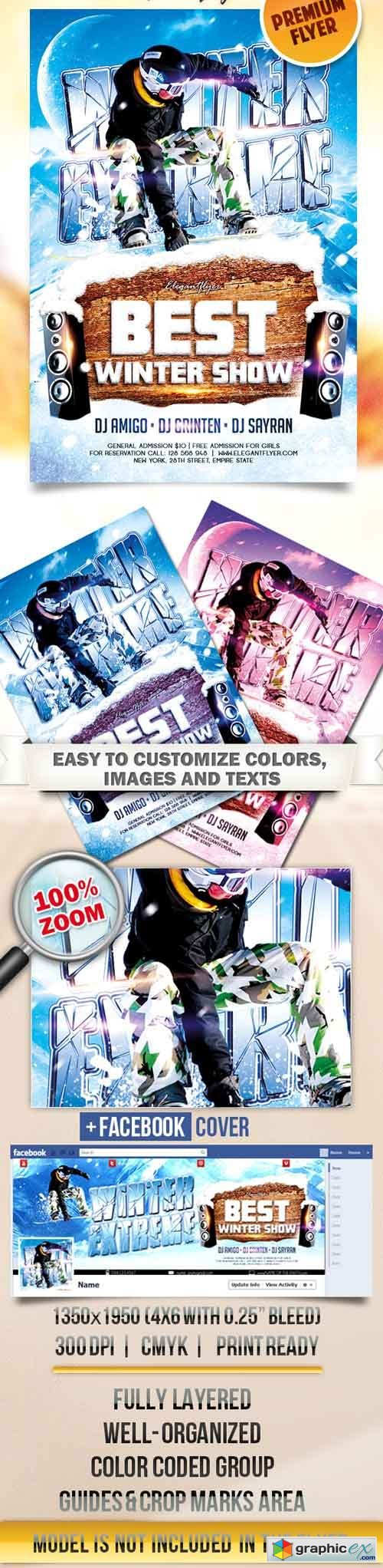 Winter Extreme � Flyer PSD Template + Facebook Cover