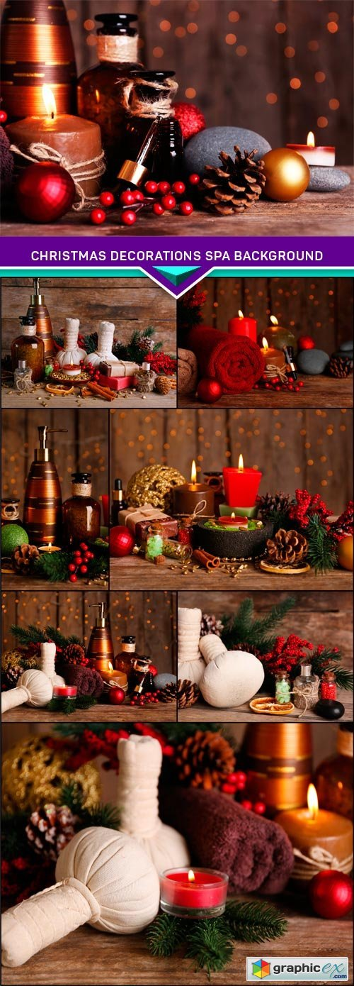 Christmas decorations spa background 8x JPEG