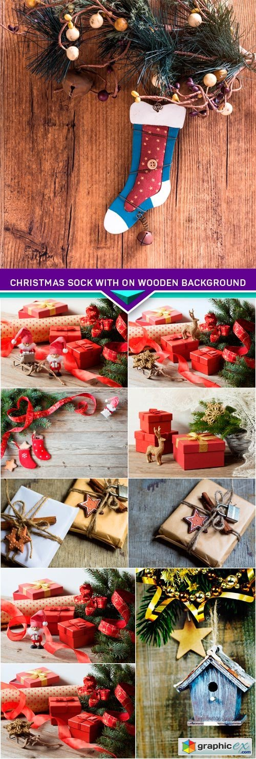 Christmas sock with on wooden background 10x JPEG