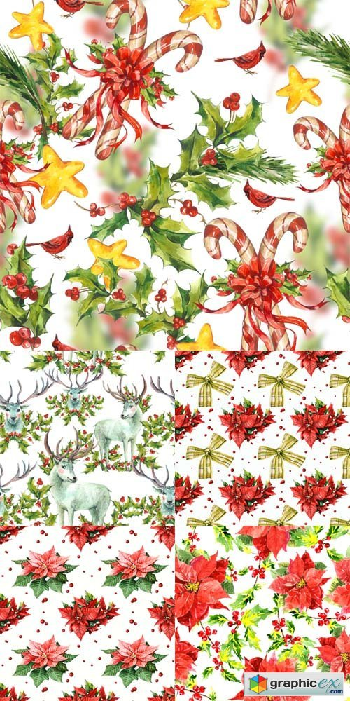5 Watercolor Christmas Patterns Set