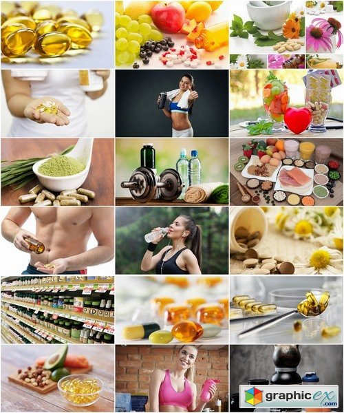Collection of fitness preparation healthy eating vitamin tablet sports nutrition 25 HQ Jpeg