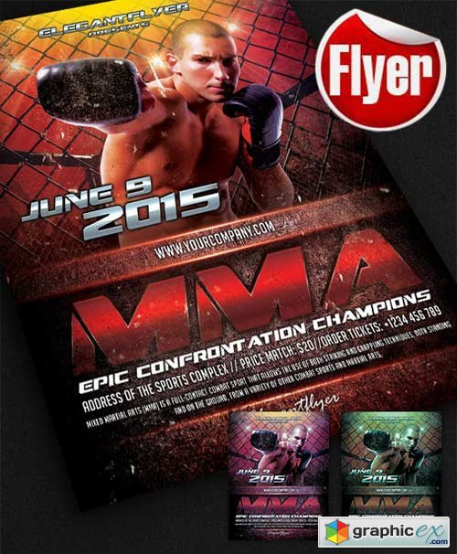 MMA Flyer Template + Facebook Cover