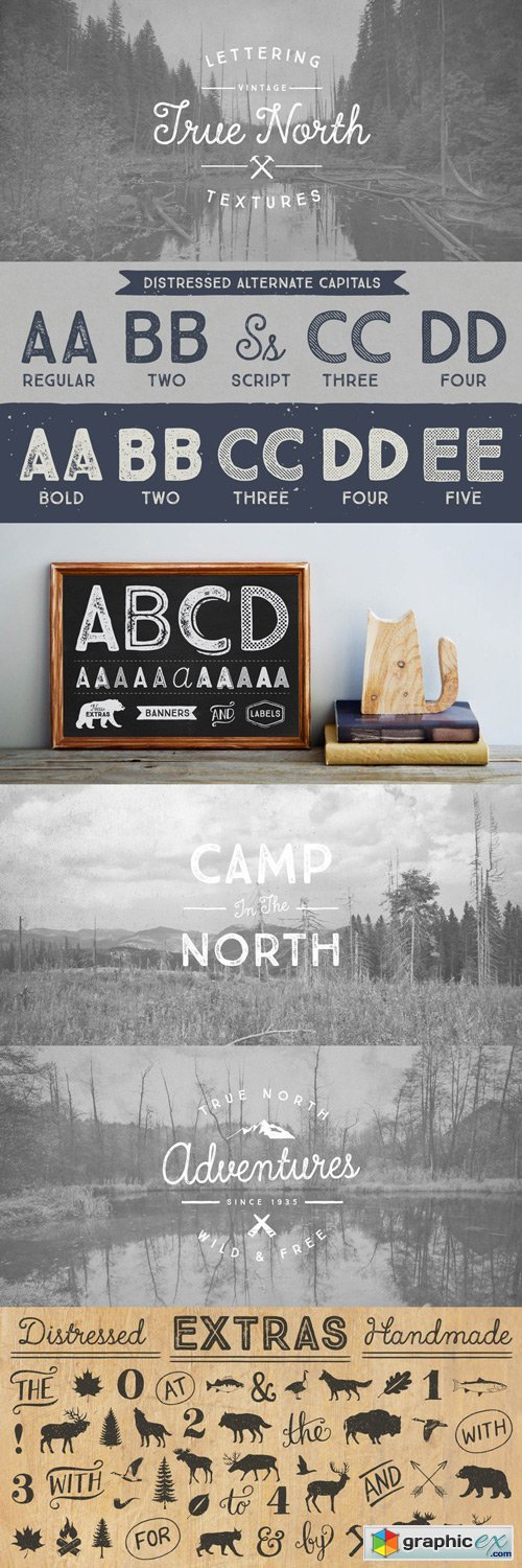 True North Textures Font Family