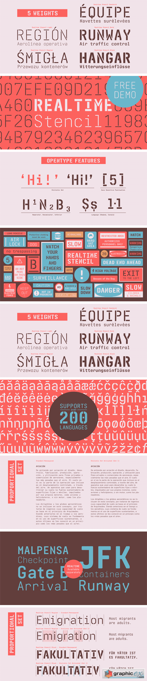 Realtime Stencil Font Family