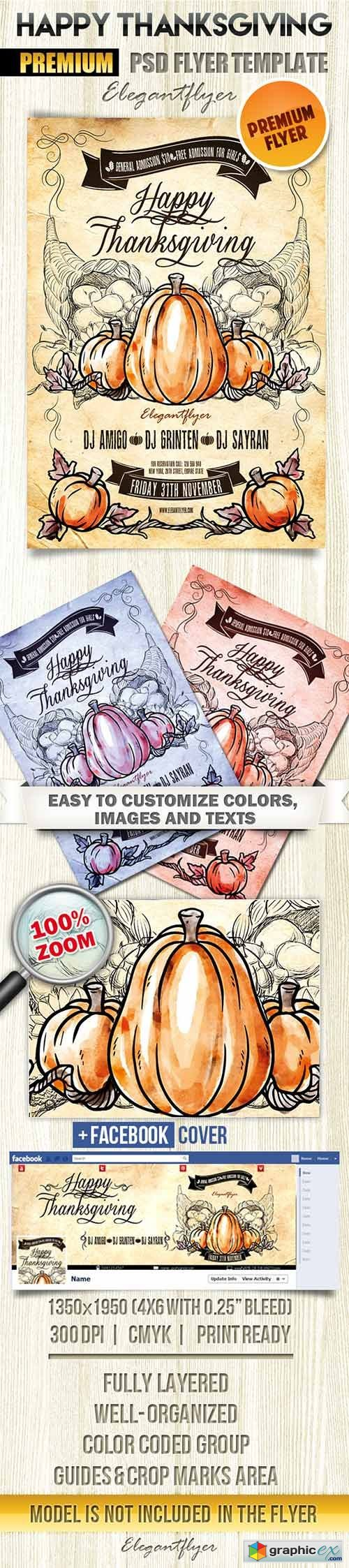 Happy Thanksgiving Flyer PSD Template + Facebook Cover