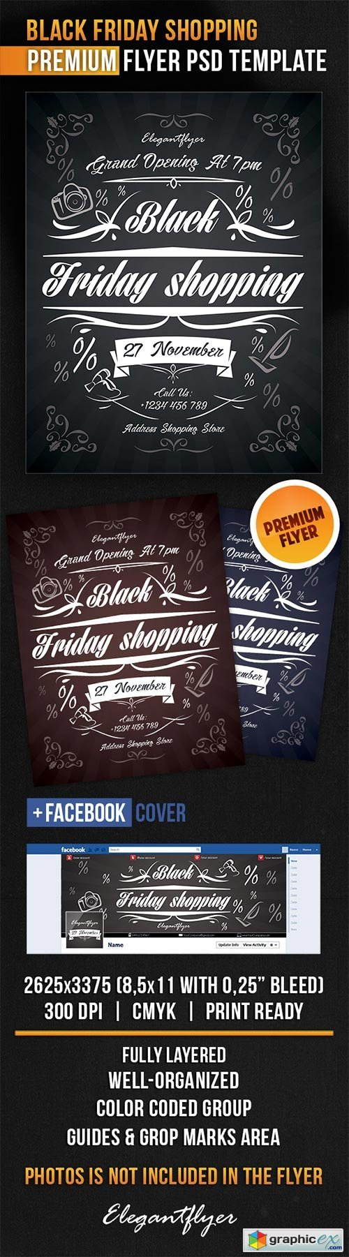 Black Friday Shopping Flyer PSD Template + Facebook Cover