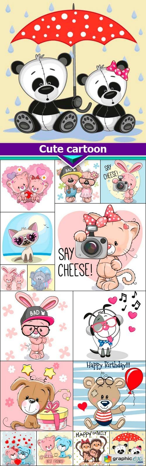 Cute cartoon 15X EPS