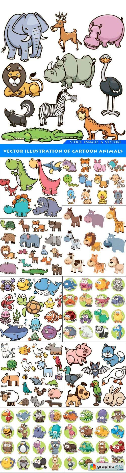 Vector Illustration of Cartoon animals 11X EPS