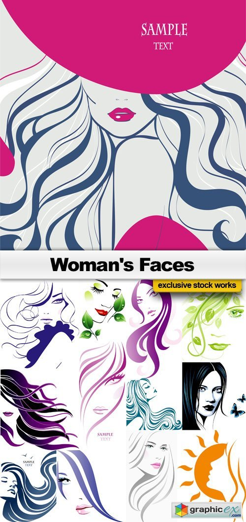 Womans Faces - 25x EPS