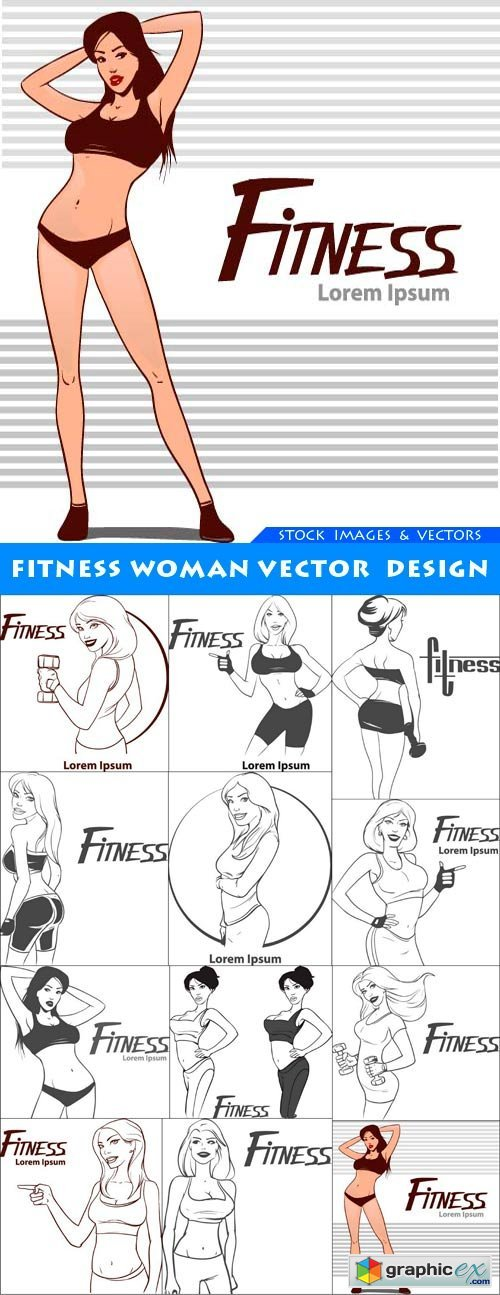 Fitness woman vector design 12X EPS