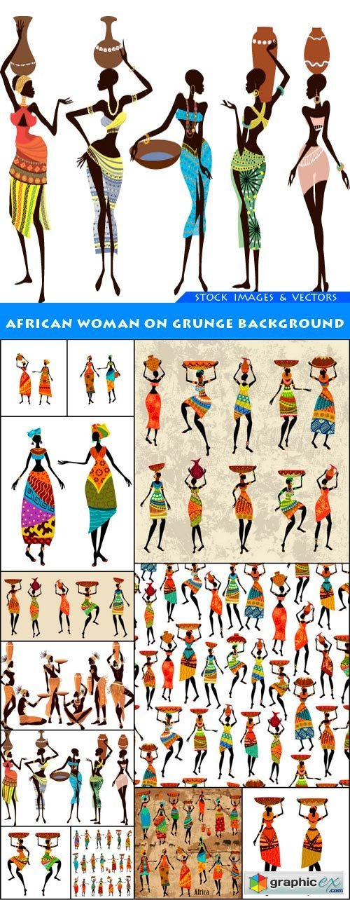 African woman on grunge background 12X EPS
