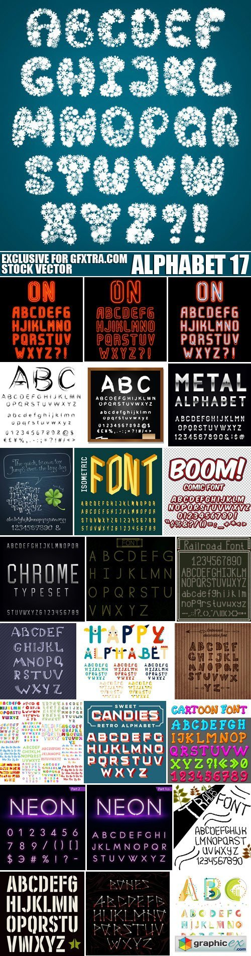 Stock Vectors - Alphabet 17, 25xEPS