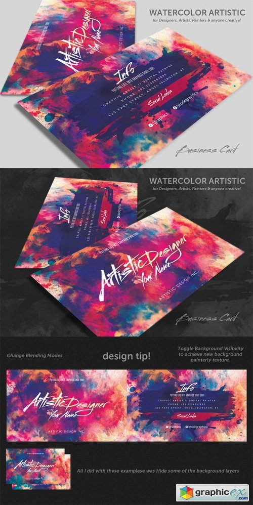 Watercolour Artistic Business Card » Free Download Vector Stock ...