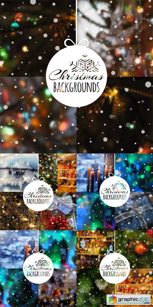 Set of Blurred Vector Christmas Backgrounds