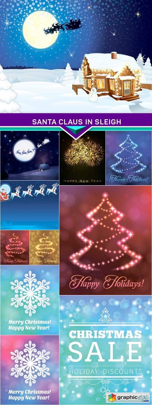 Santa Claus in sleigh, Christmas tree & snowflakes vector 11x EPS