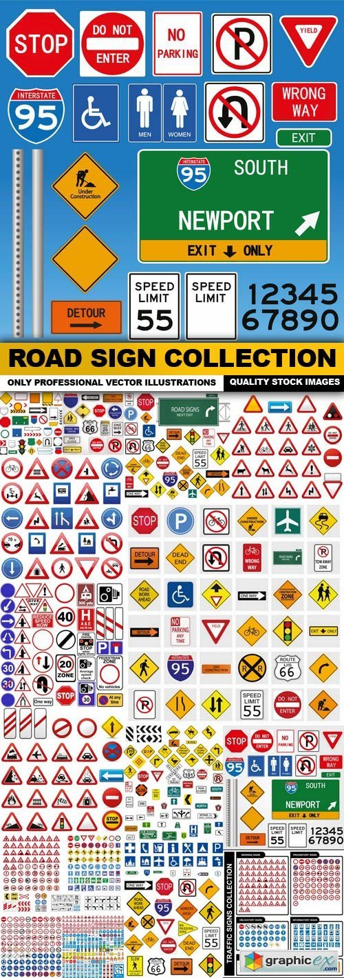 Road Sign Collection - 25 Vector