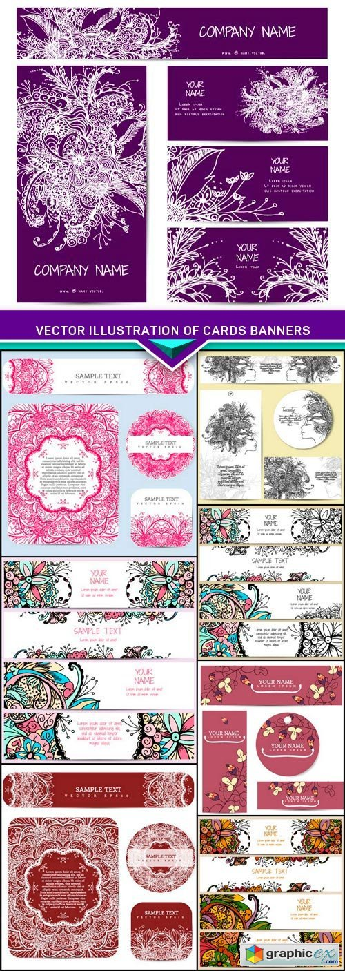 Vector illustration of cards banners with floral ornament 8x EPS