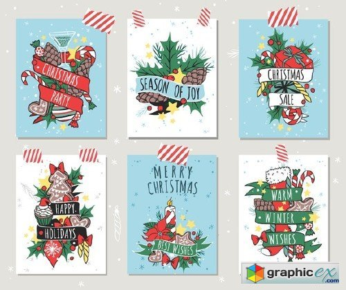 CM - Christmas greeting card banners set 449308
