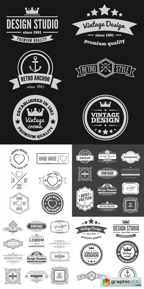 Set of vintage retro handmade badges, labels and logo elements and simbols