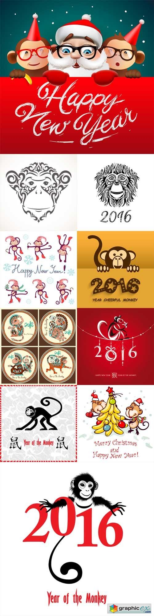 Happy New Year 2016 - Year Of The Monkey Vector Set