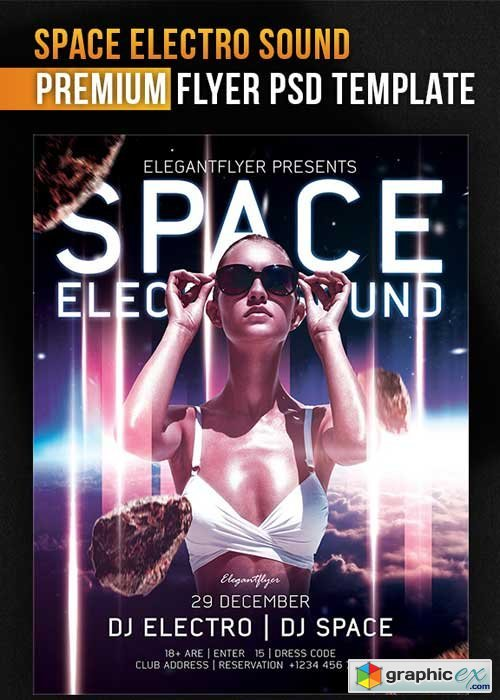 Space Electro Sound Flyer PSD Template + Facebook Cover
