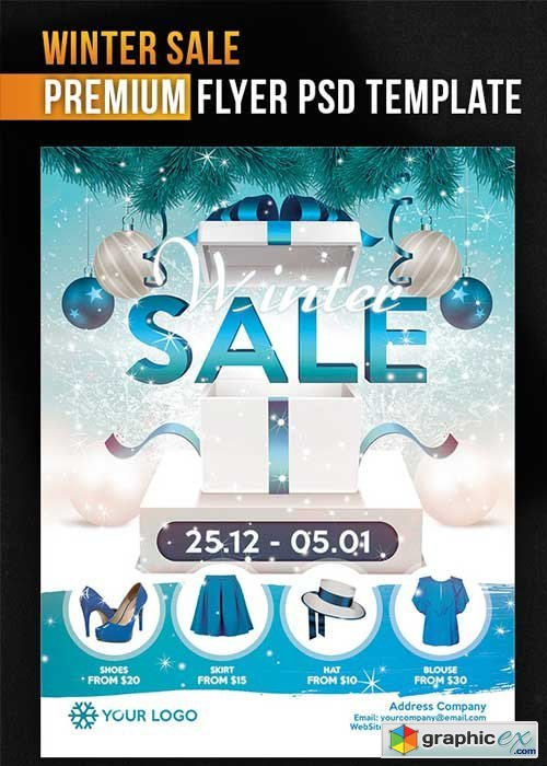 Winter Sale Flyer PSD Template + Facebook Cover