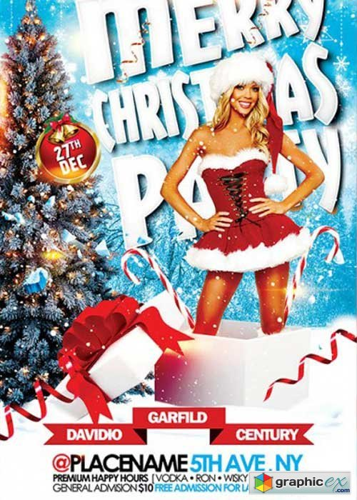Merry Christmas Party V5 Premium Flyer Template + Facebook Cover