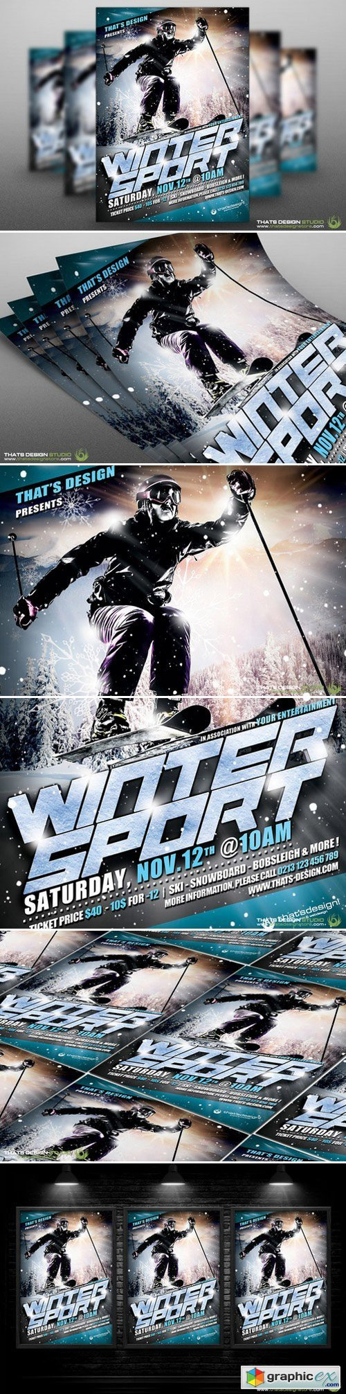 winter sports flyer template v1 free download vector stock image