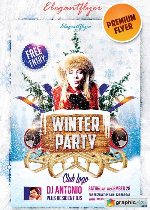Winter Party #3 Premium Club flyer PSD Template