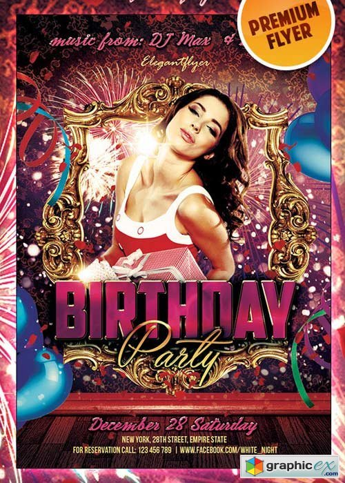 Birthday Party Premium Club flyer PSD Template