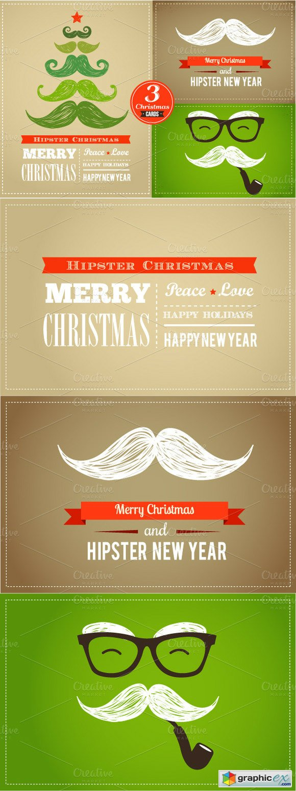Set of Hipster Christmas Cards » Free Download Vector Stock Image ...