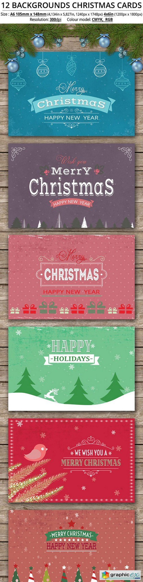 12 Backgrounds Christmas Cards