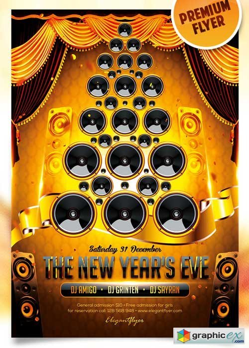 The New Year�s Eve Flyer PSD Template + Facebook Cover