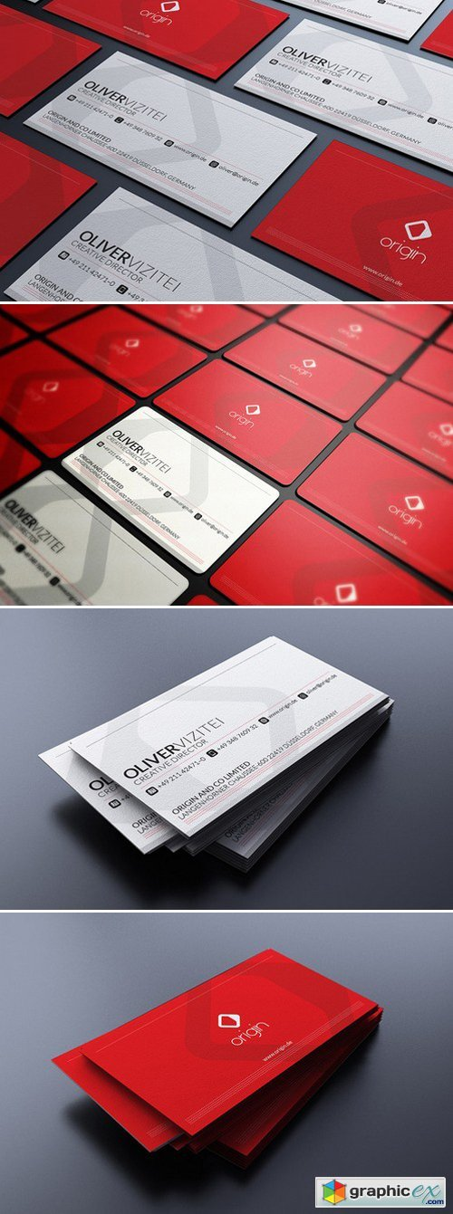 Modern Red Business Card 161113