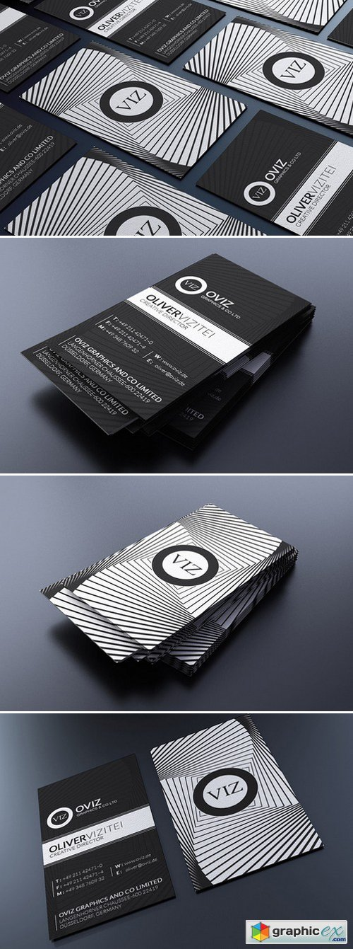 Modern Black And White Business Card 160991