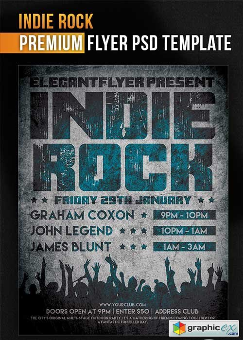 Indie Rock Flyer PSD Template + Facebook Cover