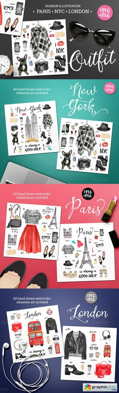 CM - Watercolor Fashion Illustration Set - 244205