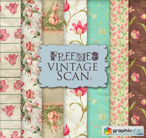 Flower Background Textures in Vintage Style, part 16