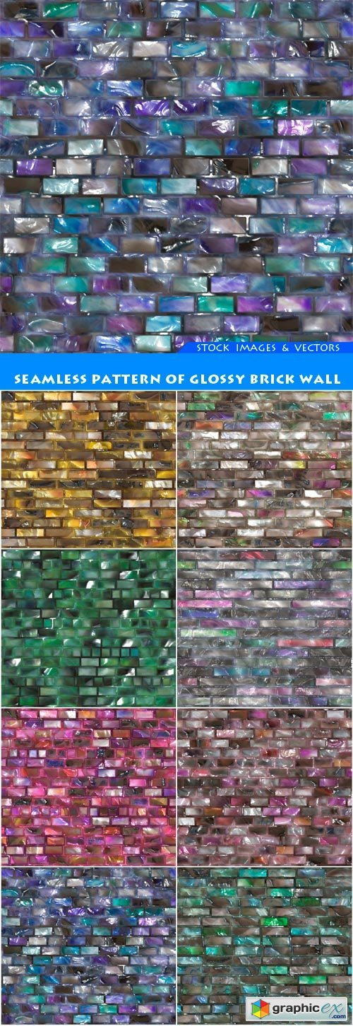 Seamless pattern of glossy brick wall 8X JPEG