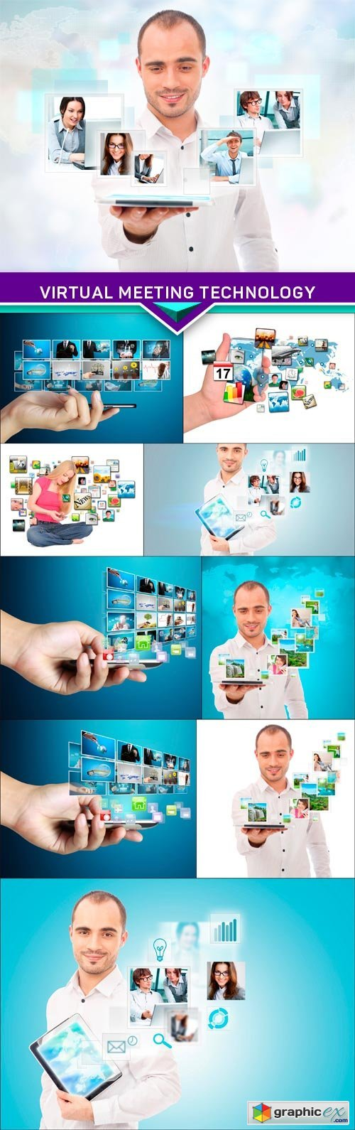 Virtual meeting technology for global business concept 10x JPEG