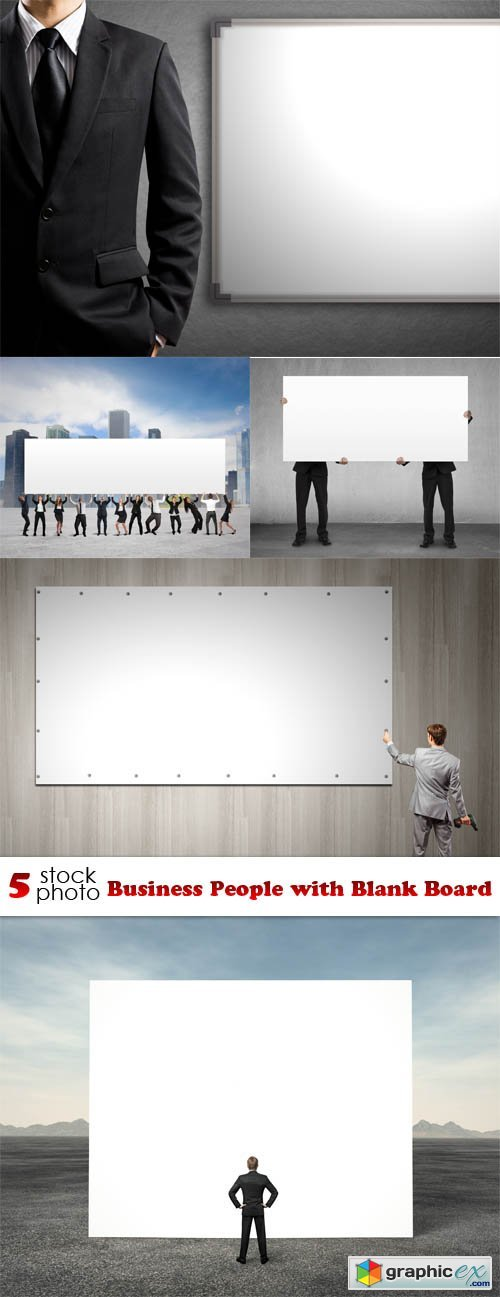 Photos - Business People with Blank Board