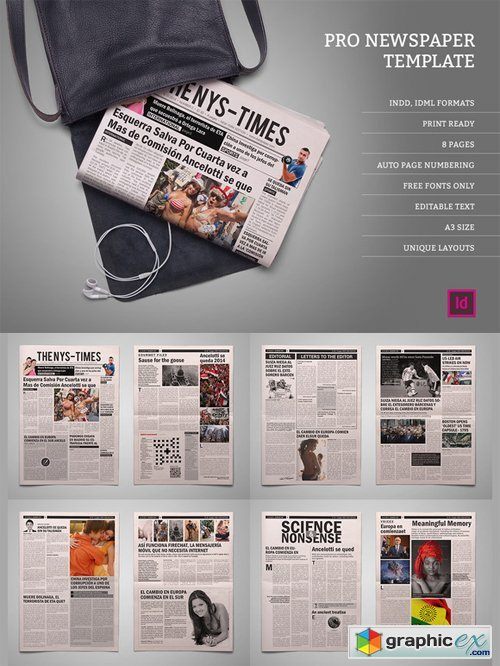 Pro Newspaper Template Free Download Vector Stock Image Photoshop Icon