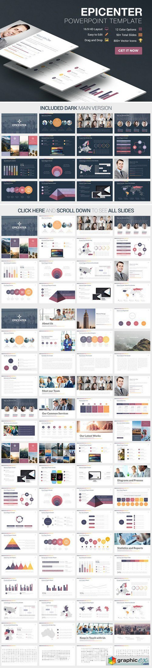 Epicenter PowerPoint Template » Free Download Vector Stock