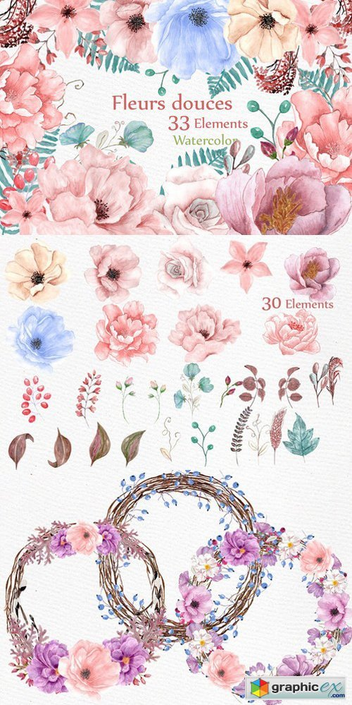 Watercolor wedding flowers