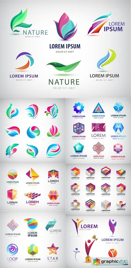 Set of Abstract Colorful 3d Logos » Free Download Vector