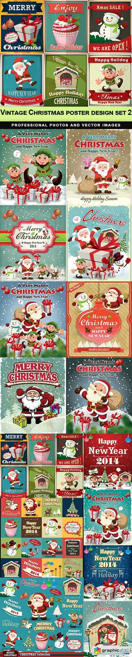 Vintage Christmas poster design set 2